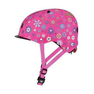 Kask Globber Elite Lights Deep Pink Flowers XS/S z lampką LED